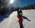 Маленькая Аспен в полтора года освоила сноуборд